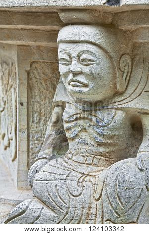 Statues carved in stone located in Seven Star Park in Guilin China