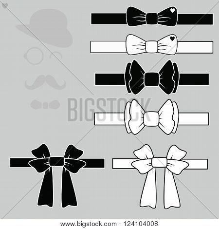 Vector set tie butterflies against the backdrop of a gentleman.A man with a mustache , a hat with glasses and a bow tie.