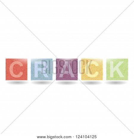 Modern Vector Crack word. Crack pattern. Crack line. Modern crack pattern. Crack alphabet.