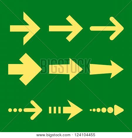 Right Arrows vector icon set. Collection style is yellow flat symbols on a green background. Right Arrows icons.