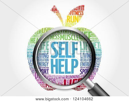 Self Help apple word cloud with magnifying glass, health concept