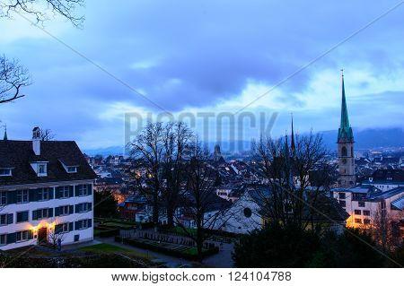 Zurich Switzerland - March 26 2016: Zurich cityscape with Fraumunster Church at dawn