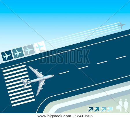 Airplane at the take-off strip concept illustration poster