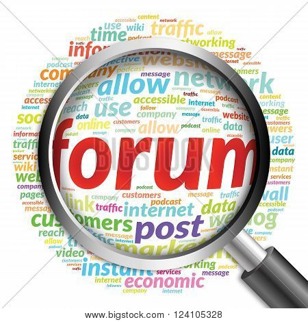 FORUM word cloud with magnifying glass, business concept