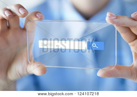 business, technology, internet and people concept - close up of woman hand holding and showing transparent with browser search bar on screen smartphone at office