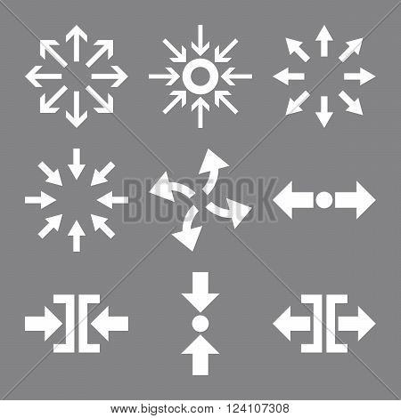 Compress and Explode Arrows vector icon set. Collection style is white flat symbols on a gray background. Compress And Explode Arrows icons.