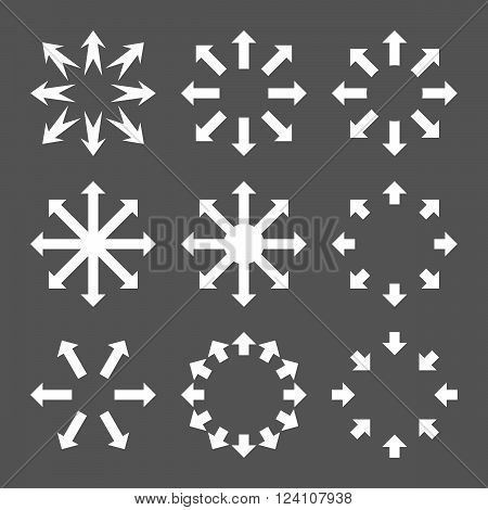 Maximize Arrows vector icon set. Collection style is white flat symbols on a gray background. Maximize Arrows icons.