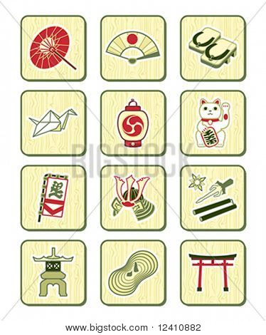 Traditional japanese culture objects icon-set over bamboo pattern
