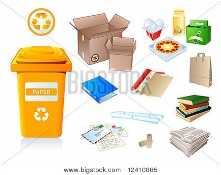 Paper waste and garbage suitable for recycling