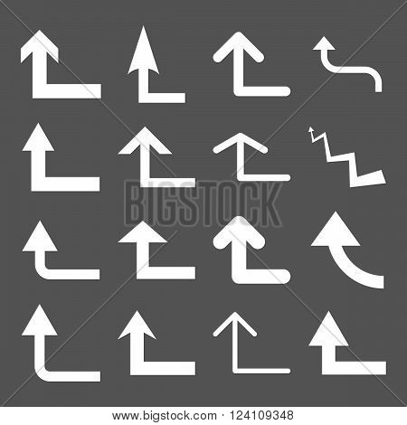 Turn Forward vector icon set. Collection style is white flat symbols on a gray background. Turn Forward icons.