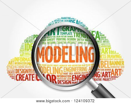 MODELING word cloud with magnifying glass, business concept