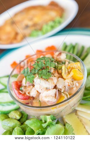 Simmer Shrimp With Vegetable In Plate. Thai Food