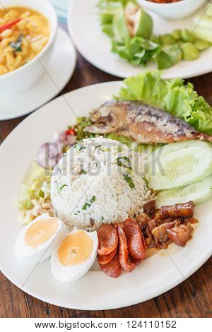 Chili paste with fried mackerel and vegetable Thai food,Thai food, Shrimp paste with fried mackerel and vegetable ,chili paste.