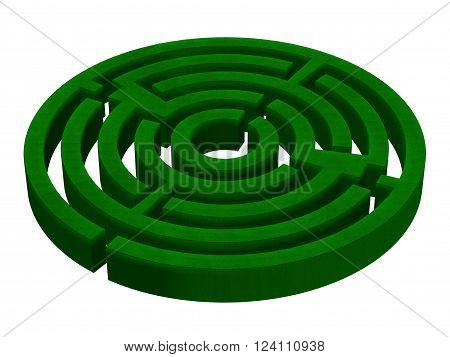 3D render of a hedge maze isolated on white.