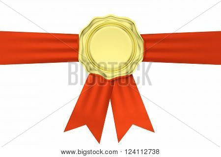 Gold Wax Seal On Horizontal Red Ribbon Isolated On White