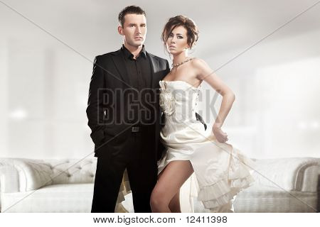 Fashion style photo of a cute couple