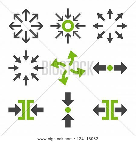 Compress and Explode Arrows vector icon set. Collection style is bicolor eco green and gray flat symbols on a white background. Compress And Explode Arrows icons.