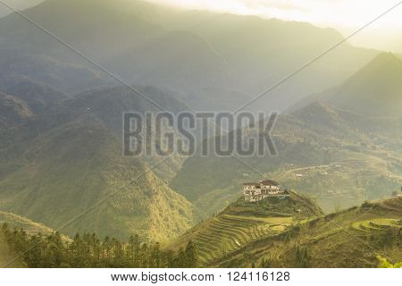 Tropical forest and mountain in the mist in Sapa Lao Cai province Nort Vietnam.