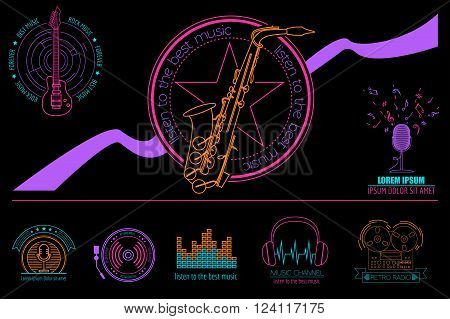 Musical instruments logos and badges. Graphic template. Vector illustration