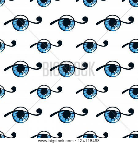 seamless pattern with abstract blue eye on white background. vector