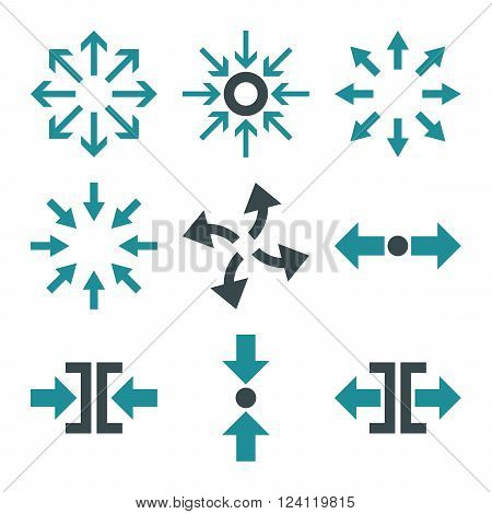 Compress and Explode Arrows vector icon set. Collection style is bicolor soft blue flat symbols on a white background. Compress And Explode Arrows icons.