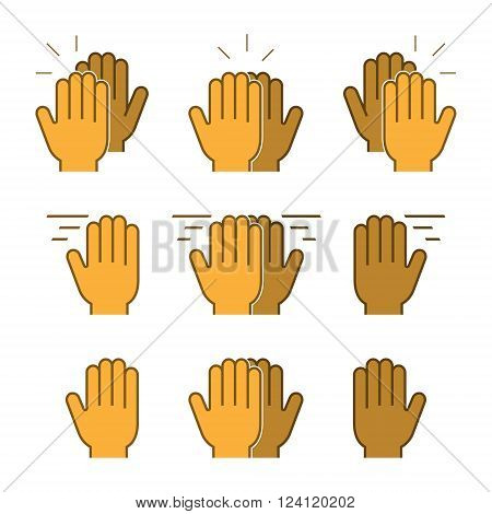 Vector set flat icons high five. Modern symbol line high five. Linear friendly high five.