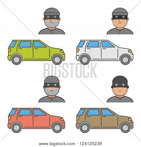 Vector set icons car theft. Modern isolated symbol auto theft. Line design concept car insurance and car insurance theft auto.
