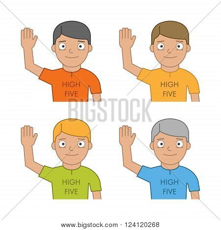 Flat people and friendly high five. Modern line man and high five. Linear friendly high five.