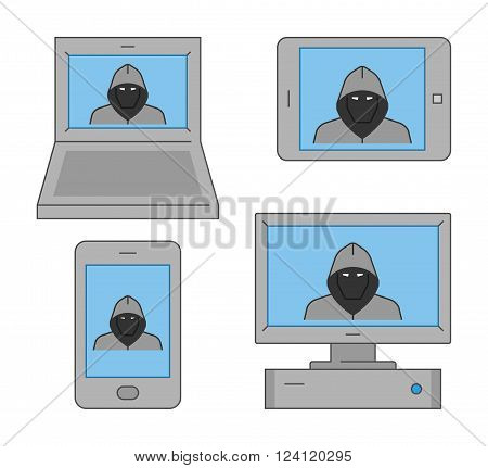 Vector set icons online theft. Modern isolated symbol internet theft. Line design concept online theft and cyber thief.