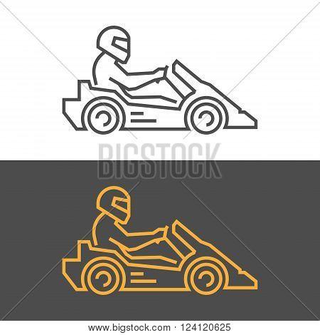 Gold modern icon go kart. Vector symbol of karting. Modern silhouette kart racer.