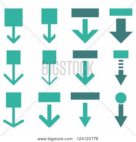 Pull Down vector icon set. Collection style is bicolor cobalt and cyan flat symbols on a white background. Pull Down icons.
