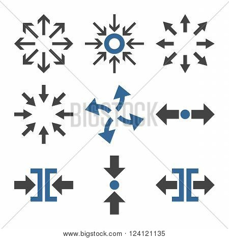 Compress and Explode Arrows vector icon set. Collection style is bicolor cobalt and gray flat symbols on a white background. Compress And Explode Arrows icons.