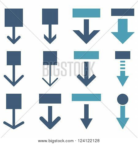 Pull Down vector icon set. Collection style is bicolor cyan and blue flat symbols on a white background. Pull Down icons.
