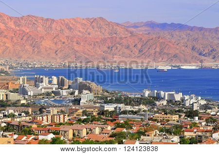 EILAT, ISRAEL - JUNE 5: View to Eilat, Aqaba Gulf and Jordan Mountains on June 5, 2013  in Eilat.
