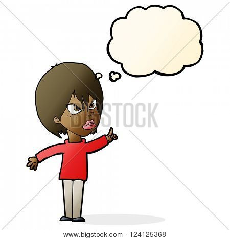 cartoon woman arguing with thought bubble