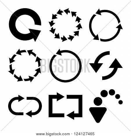 Rotate Arrows vector icon set. Collection style is black flat symbols on a white background. Rotate Arrows icons.
