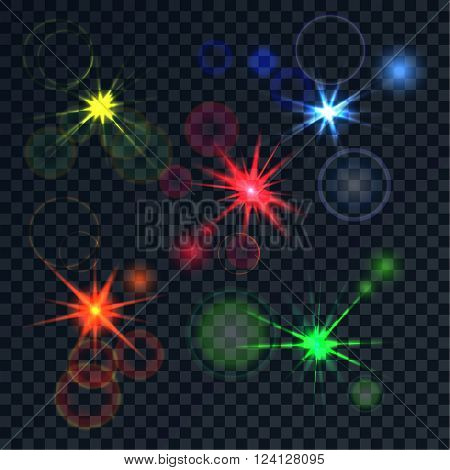 Bright realistic color effect. The poured luminescences with effects a side on a translucent background. Vector abstract background