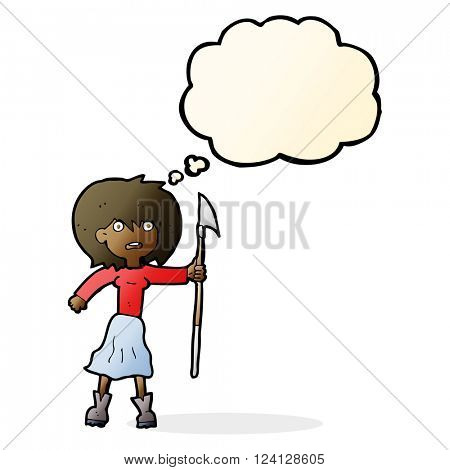 cartoon woman with harpoon with thought bubble