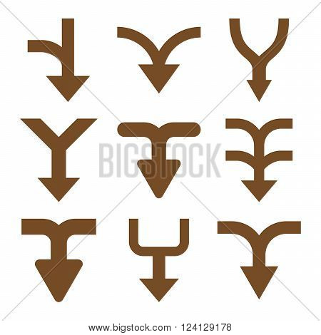 Merge Arrows Down vector icon set. Collection style is brown flat symbols on a white background. Merge Arrows Down icons.