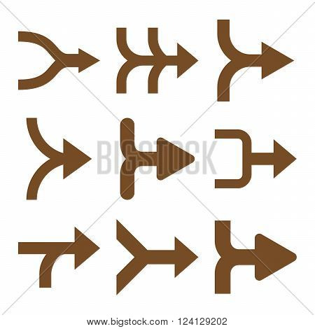 Merge Arrows Right vector icon set. Collection style is brown flat symbols on a white background. Merge Arrows Right icons.