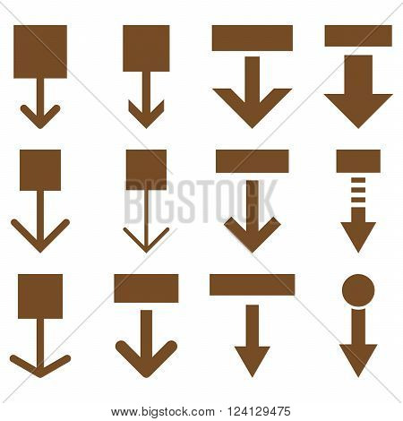 Pull Down vector icon set. Collection style is brown flat symbols on a white background. Pull Down icons.