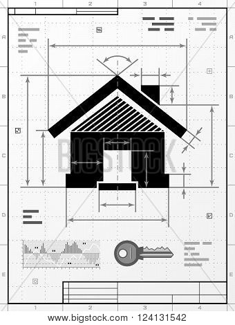 Home symbol as technical drawing. Stylized drafting of house sign with title block. Qualitative vector illustration about architecture building real estate construction development housing etc. It has solid colors gradients