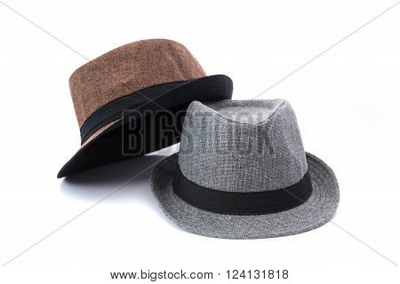 Close up of beautiful panama hat on white background isolated.