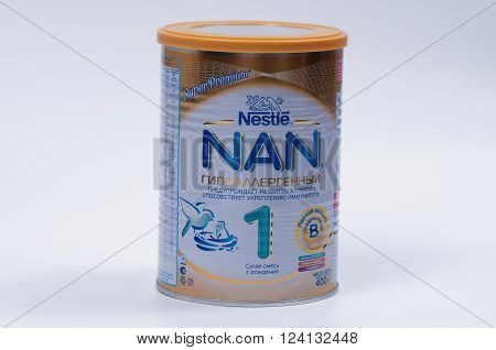Saransk, Russia - April 2, 2016: Nestle NAN 400g Powder Can on a white background.