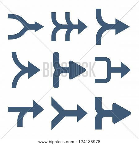 Merge Arrows Right vector icon set. Collection style is blue flat symbols on a white background. Merge Arrows Right icons.