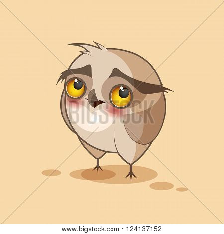 Vector Stock Illustration isolated Emoji character cartoon owl embarrassed, shy and blushes sticker emoticon for site, infographics, video, animation, websites, e-mails, newsletters, reports, comics