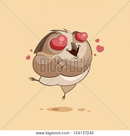 Vector Stock Illustration isolated Emoji character cartoon owl in love flying with hearts sticker emoticon for site, infographics, video, animation, websites, e-mails, newsletters, reports, comics