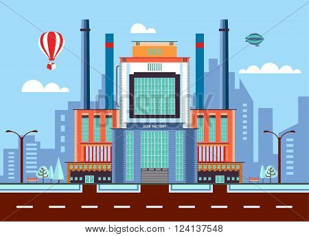 Stock vector illustration city street with brewery, modern architectures, factory building in flat style element for infographic, website, icon, games, motion design, video
