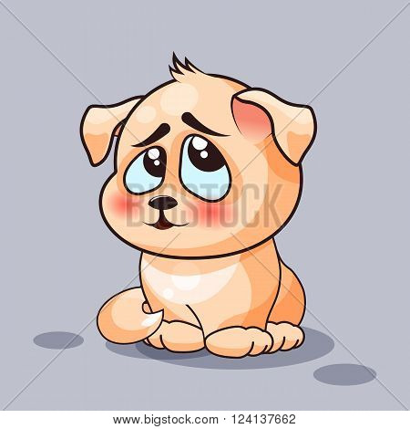 Vector Stock Illustration isolated Emoji character cartoon dog embarrassed, shy and blushes sticker emoticon for site, infographics, video, animation, websites, e-mails, newsletters, reports, comics