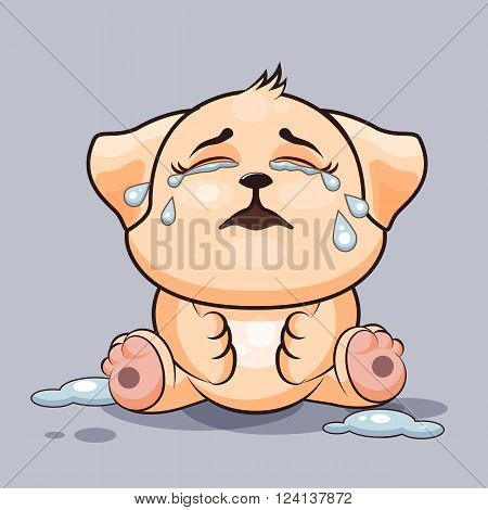 Vector Stock Illustration isolated Emoji character cartoon dog crying, lot of tears sticker emoticon for site, infographics, video, animation, websites, e-mails, newsletters, reports, comics